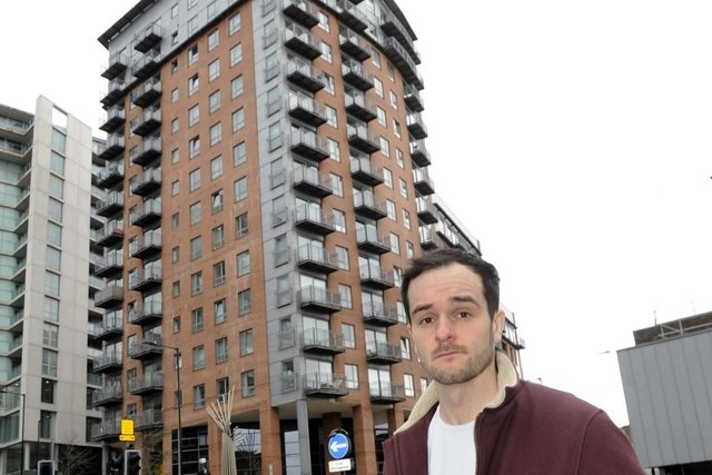 William Martin who has concerns about the cladding on the Metis tower-block at the corner of West Bar and Scotland Street in Sheffield. Picture: Steve Ellis