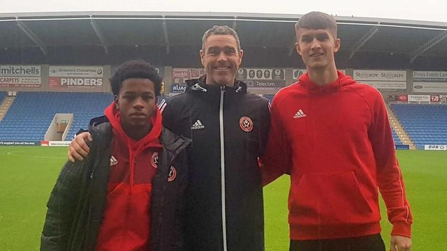 Callum Gribbin and Ta'Shae Andall-Gibbons with U23s coach Andy Hughes (Pic: SUFC)