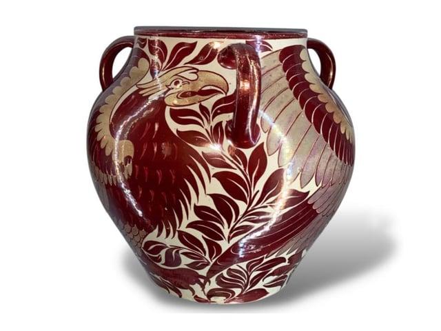 Rare three-handled Eagle Vase by famed potter William De Morgan