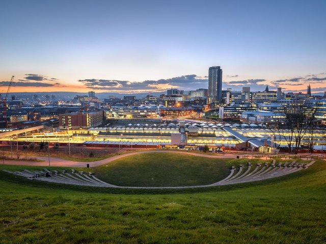Pictured, at night from Sheaf Valley Park, in the Sheffield, City Centre. A new report from Sheffield Hallam University has revealed the need for more parks, particularly in urban spaces, to help in the pandemic recvovery. Photo credit: Stock.adobe.com