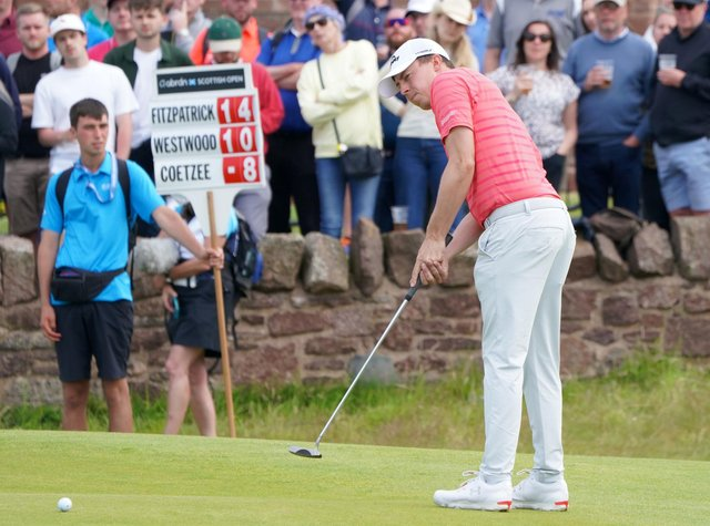 Matt Fitzpatrick on the 18th green during day three of the Aberdeen Standard Investments Scottish Open at the Renaissance Club, Scotland yesterday