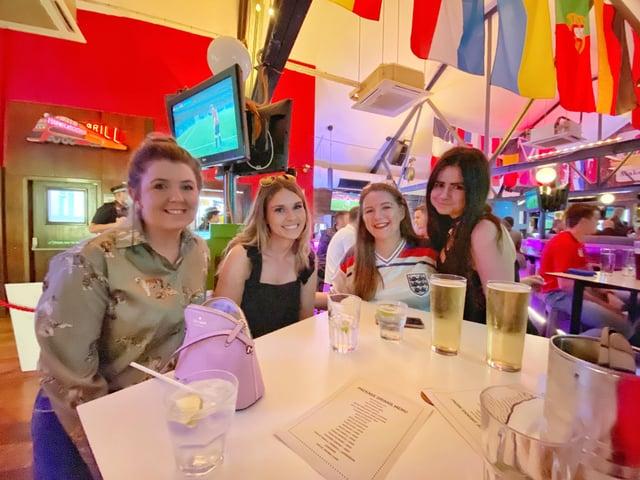 Darcie Brown, Lauren Gillett, Laura Vinelott and Hannah Scott have been at the Common Room since 5pm.