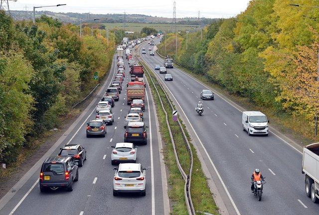 Sheffield Parkway A630. Looking towards M1 junction.