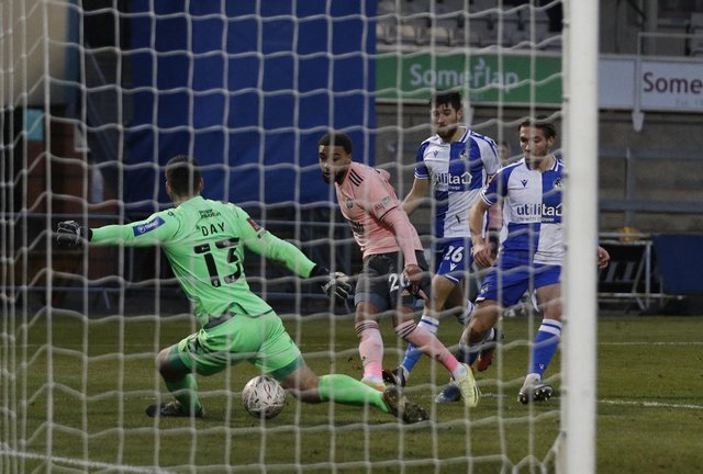 Jayden Bogle of Sheffield Utd scores the third goal past Joe Day of Bristol Rovers during the FA Cup match at the Memorial Stadium, Bristol. Darren Staples/Sportimage