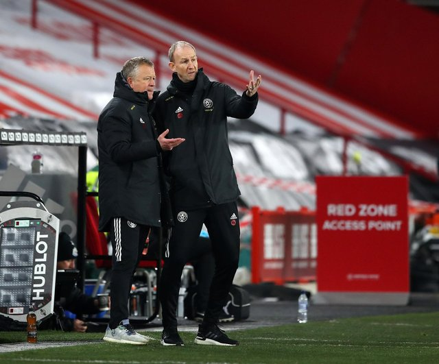 Chris Wilder, the former Sheffield United manager, with his assistant Alan Knill (R): Simon Bellis/Sportimage