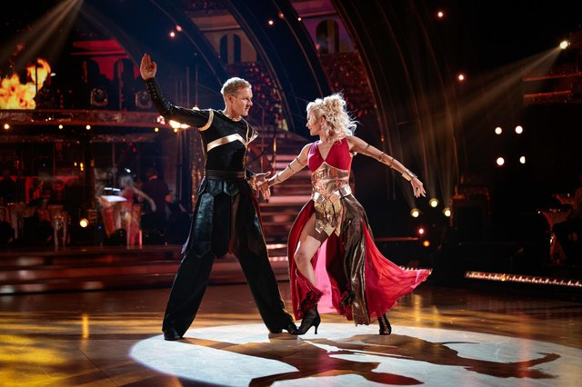 Dan Walker and Nadiya Bychkova at the dress rehearsal for Strictly Come Dancing.Guy Levy/BBC/PA Wire