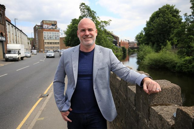 Matt Bowker of Coda Architects with the old Cannon Brewery and the River Don in Neepsend. Picture: Chris Etchells