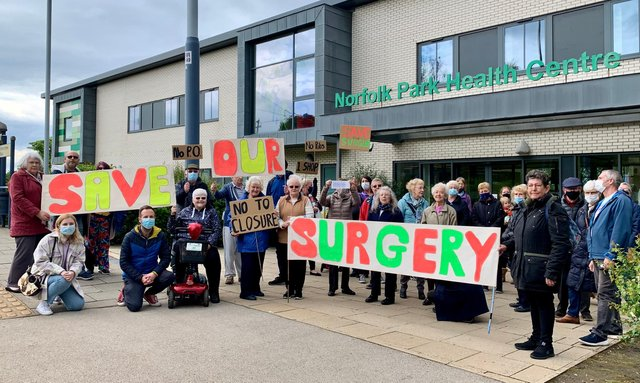 Protestors outside the Norfolk Park Medical Practice which is threatened with closure.