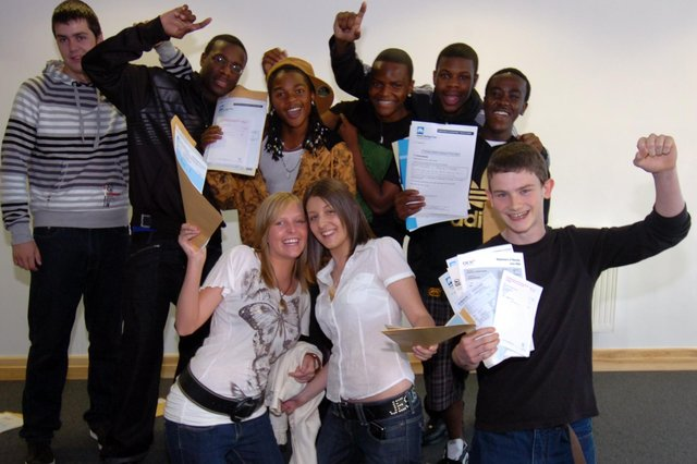 Students celebrate their GCSE results at Springs Academy on Hurlfield Road in 2008