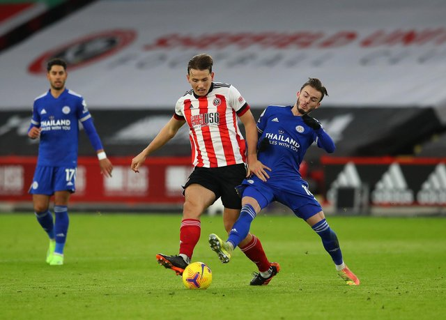 Sander Berge and James Maddison in action when Sheffield United played Leicester City earlier this season: Simon Bellis/Sportimage