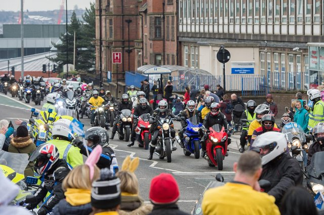 Sheffield Children's Hospital Easter Egg Run 2018 - Bikers make their way to Weston Park opposite the Children's Hospital.