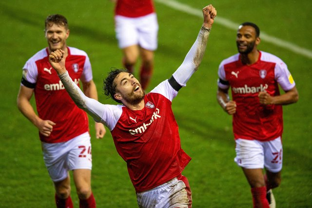 Matt Crooks celebrates scoring his second goal in Rotherham United's 3-3 draw against Stoke City at the New York Stadium.  Picture Bruce Rollinson