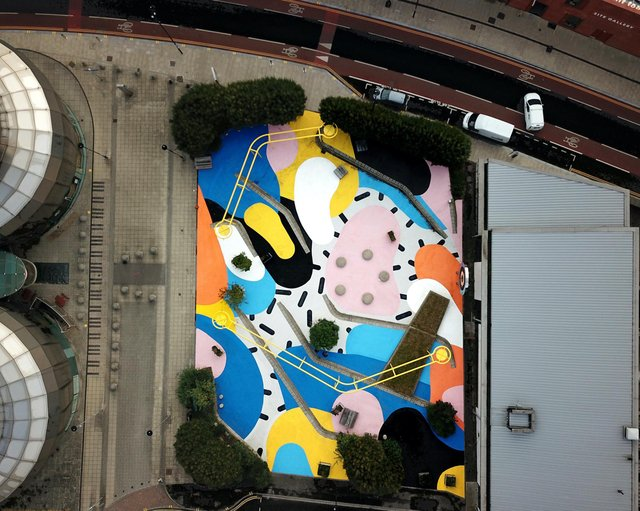 An aerial view of artist Florence Blanchard's work Bounce, transforming Site Square next to the old Centre for Popular Music in Brown Street, Sheffield