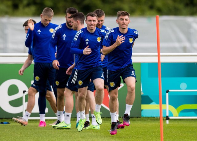 DARLINGTON, ENGLAND - JUNE 17: Billy Gilmour and John Fleck during a Scotland training session at Rockliffe Park, on June 17, 2021, in Darlington, England. (Photo by Ross Parker / SNS Group)