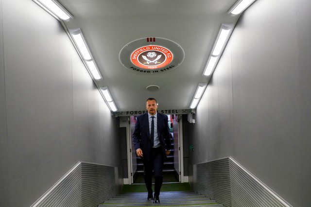 Slavisa Jokanovic walks up the tunnel at Bramall Lane after being unveiled to the media: Darren Staples / Sportimage