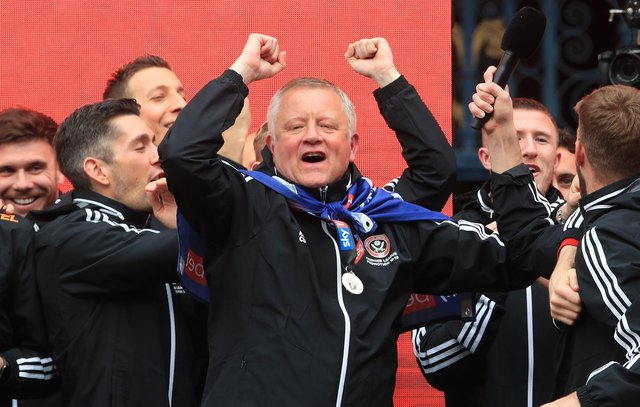 Sheffield United manager Chris Wilder on stage during the promotion parade in Sheffield City Centre. PRESS ASSOCIATION Photo. Picture date: Tuesday May 7, 2019. See PA story SOCCER Sheff Utd. Photo credit should read: Danny Lawson/PA Wire.