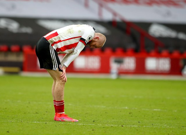 Oli McBurnie of Sheffield Utd reacts at the final whistle during the Premier League match at Bramall Lane, Sheffield. Picture date: 6th March 2021. Picture credit should read: Simon Bellis/Sportimage