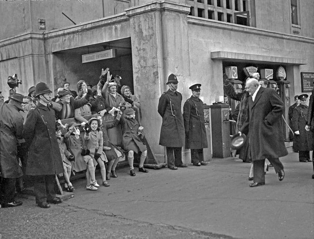 Wartime leader Winston Churchill leaves the Grand Hotel during a visit to Sheffield on April 16, 1951, six months before he became prime minister for a second time