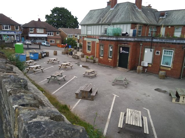 The car park at The Greystones is now used for seating. Taken in July last year, It has since had a gazebo installed.