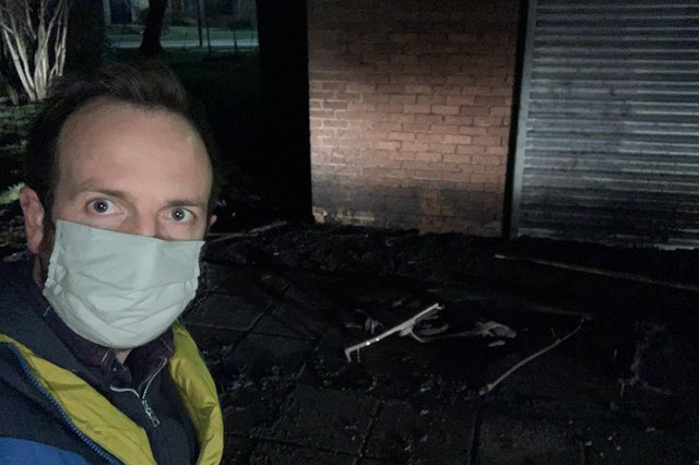 Councillor Ben Miskell at the scene of the fire in Arbourthorne. Picture: Ben Miskell.