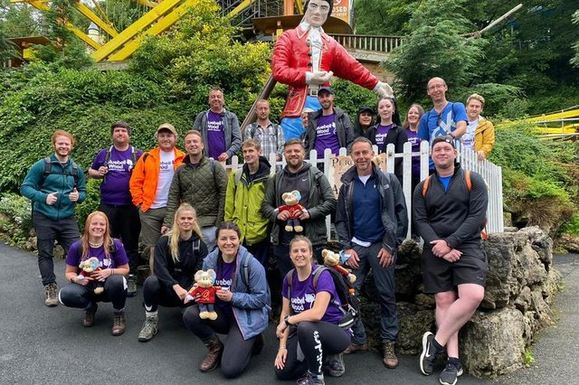 The Gulliver's team on their fundraising walk for Bluebell Wood.