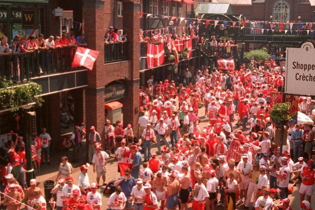 Danish fans gathered for a concert in Orchard Square, Sheffield