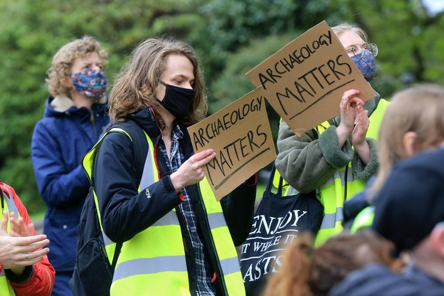 Supporters gathered on Tuesday to protest possible closure of Department of Archaeology