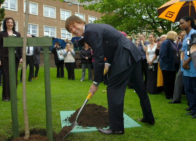 Film and TV star Sean Bean, of Game of Thrones and Lord of the Rings fame, pictured at the Royal Hallamshire Hospital where he planted a tree to launch the Sheffield Leukaemia and Blood Disorder Appeal, 2007. He was born in Handsworth in April 1959.