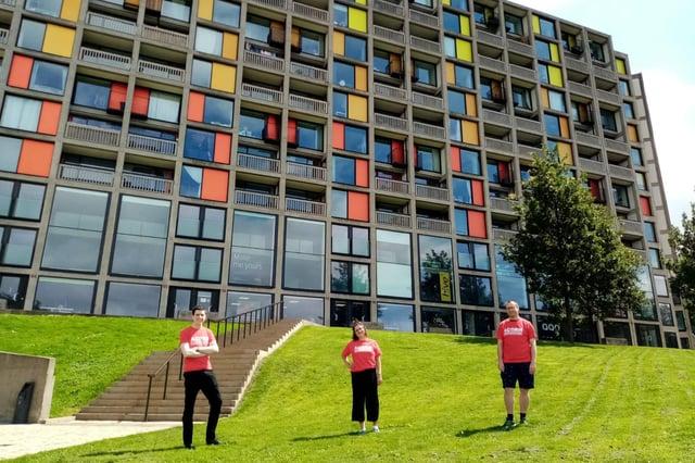 Acorn members outside Park Hill flats in Sheffield.