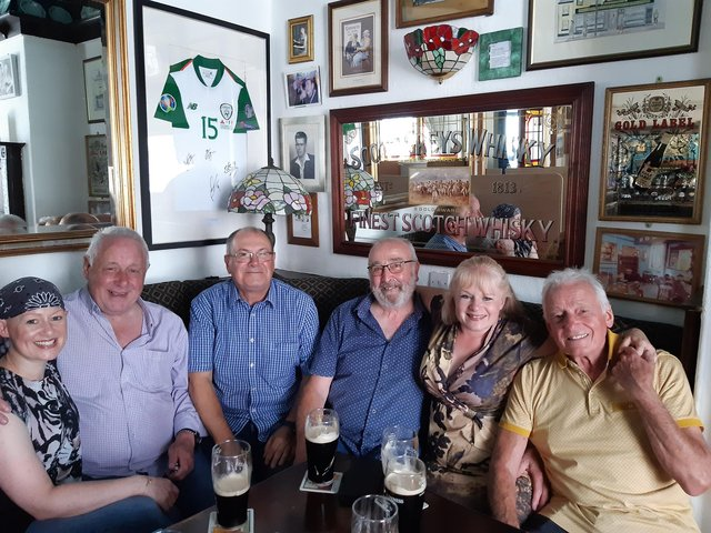 Melissa Grayson; Dave Grayson; Dave Owen; Dennis Simmonds; Nikki Grayson and her dad Colin Grayson enjoying freedom day in The Grapes