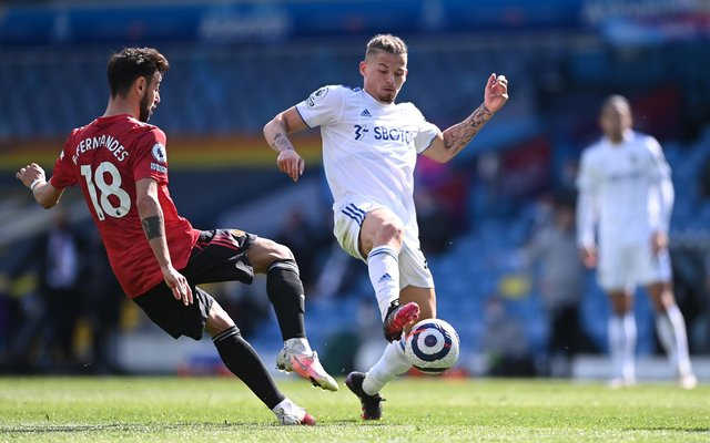 Kalvin Phillips of Leeds United and Bruno Fernandes of Manchester United will come up against each other on the opening day of the 2021/22 Premier League season. (Photo by Laurence Griffiths/Getty Images)