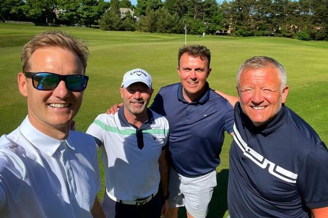 Dan walker, Alan Shearer, Jon Newsome and Chris Wilder enjoying a day of golf. Photo by Dan Walker.