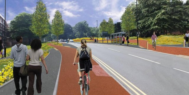 The proposed cycle lane will run along Wolstemholm Road.