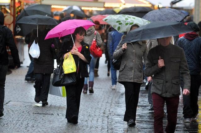 It rained heavily in Sheffield today.