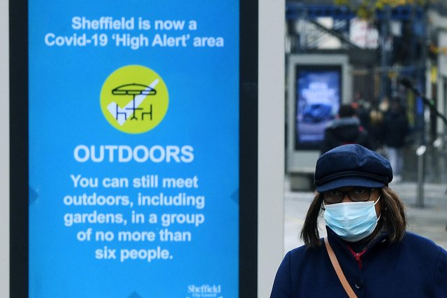 Shoppers wearing a face masks in Sheffield city centre, as South Yorkshire is the latest region to be placed into Tier 3 coronavirus restrictions, which will come into effect on Saturday.. 21st October 2020 Picture : Jonathan Gawthorpe