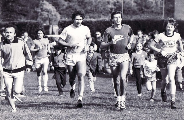 Sebastion Coe running in the Mile for Oxfam race in Sheffield October 1980