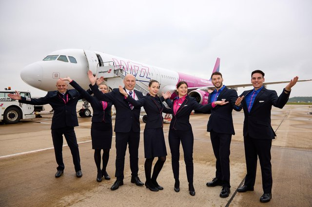 Wizz Air first flight to Faro, Portugal from Doncaster Sheffield Airport. Pictured are flight crew. Picture: Shaun Flannery/shaunflanneryphotography.com
