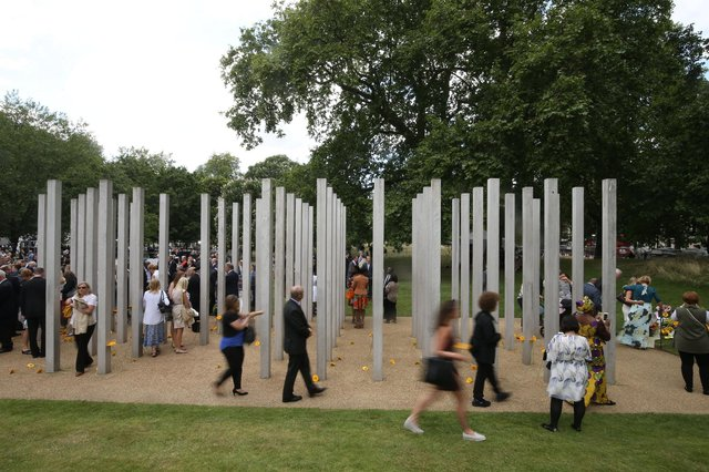 """A Sheffield steel company has said it was an """"honour"""" to be part of creating a lasting memorial in Hyde Park for the 52 victims who were killed in the 7/7 bombings in London in 2005. Photo by Steve Parsons - WPA Pool/Getty Images."""