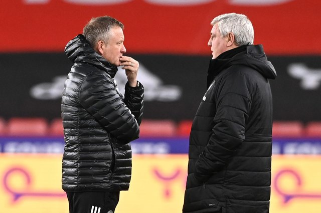 Former Sheffield United manager Chris Wilder, left, has been linked with Steve Bruce's job at Newcastle United. (Photo by Stu Forster/Getty Images)
