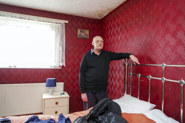 COPD sufferer Barry Fowlston and his partner have been sleeping in their living room since March due to a damp problem in their bedroom. Picture Scott Merrylees
