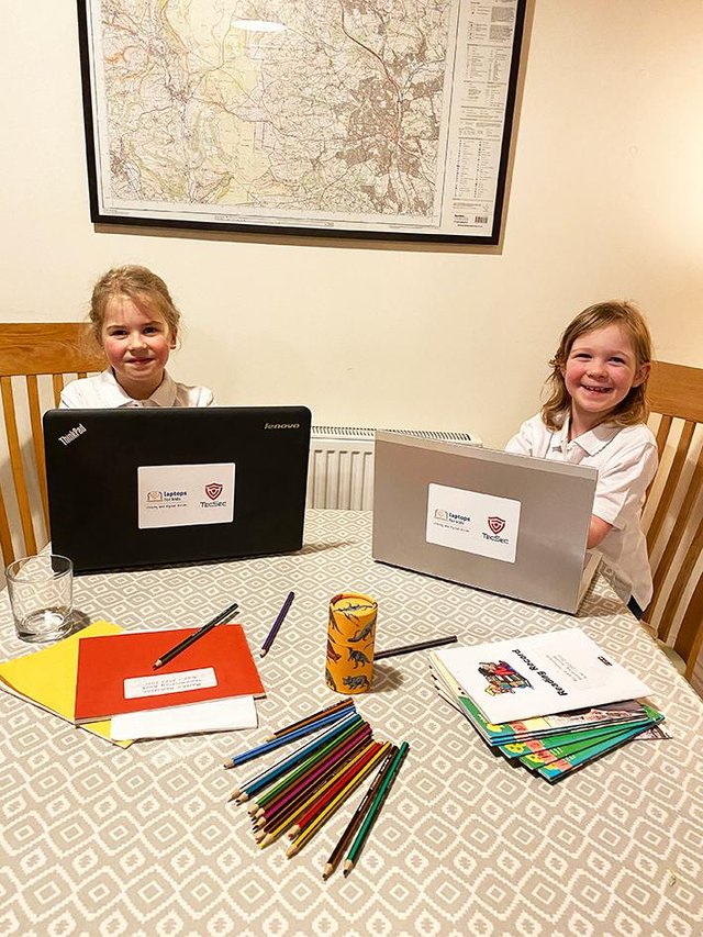 Lucia and Martha who have received laptops through the campaign.