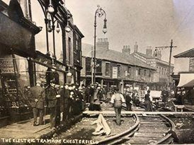 Laying of the tramlines in Cavendish Street in 1904.