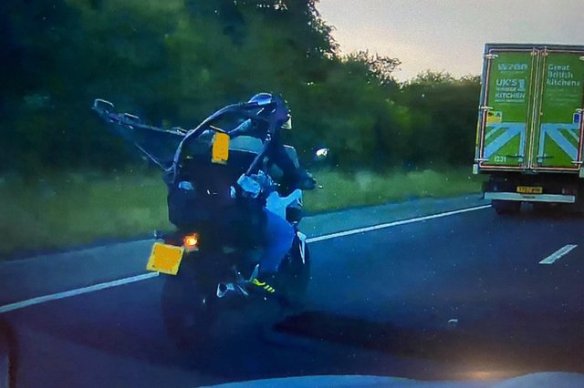 Police followed this motorcyclist home after spotting him on M1 near Sheffield