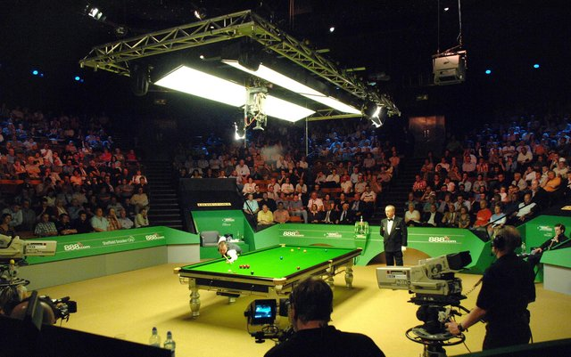 John Higgins at the table during the final of the World Snooker Championships at the Crucible Theatre, Sheffield on May 7, 2007