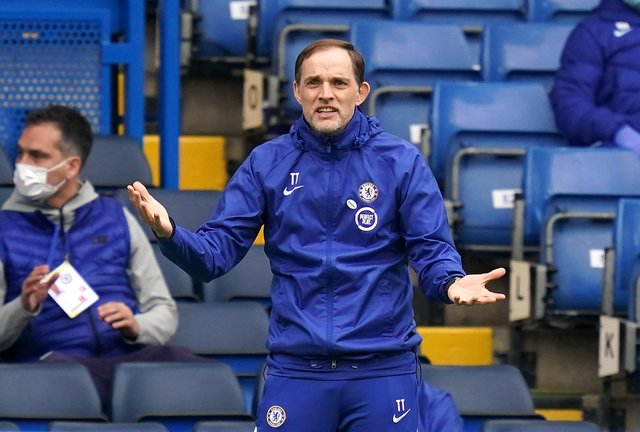 Chelsea manager Thomas Tuchel reacts during the Emirates FA Cup quarter final match against Sheffield United at Stamford Bridge: John Walton/PA Wire.