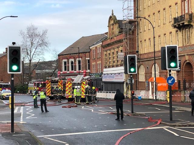 Multiple fire engines were seen on Gibraltar Street. Pic: Jon Cooper.