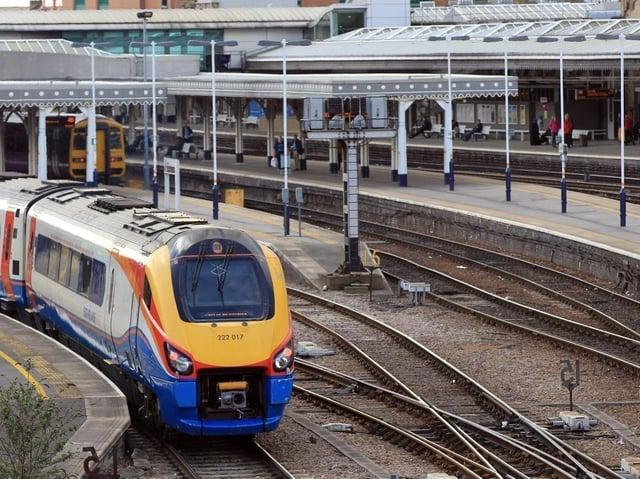 A train leaves Sheffield station