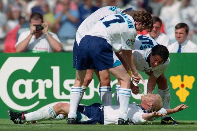 Paul Gascoigne celebrates the goal that put England 2-0 up against Scotland back in 1996.