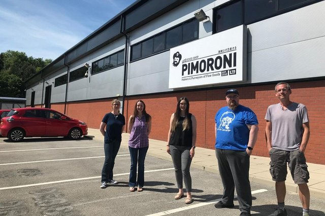 (Left to right) Pimoroni's Marie Wilkins and Katherine Freeman join Wake Smith's Laura Sanderson and Pimoroni's Paul Beech and Jon Williamson at Pimoroni's new Sheffield HQ.