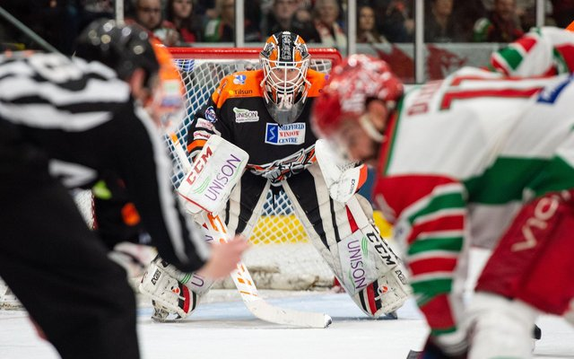 Tomas Duba - a sad farewell after winning the EIHL Cup. Pic Dean Woolley